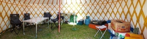 Looking from Inside of Camping Yurt