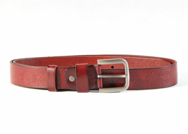 Long ornament pattern red leather belt