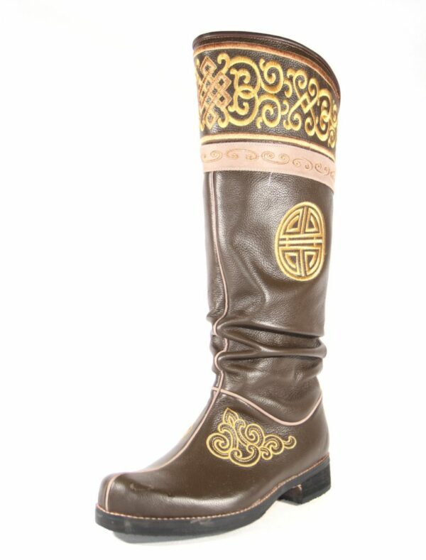 Golden stitched hand embroidered Men boots