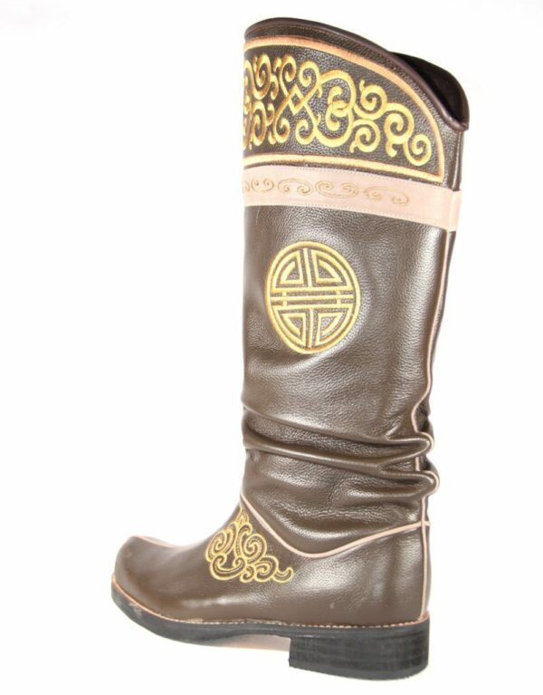 Mongolian Brown Leather Boots