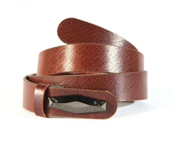 Mongolian Brown Leather Belt