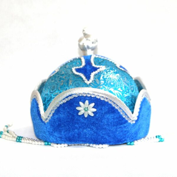 Mongolian light blue pearl hat with toes on the top