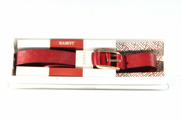 Mongolian Red Leather Belt