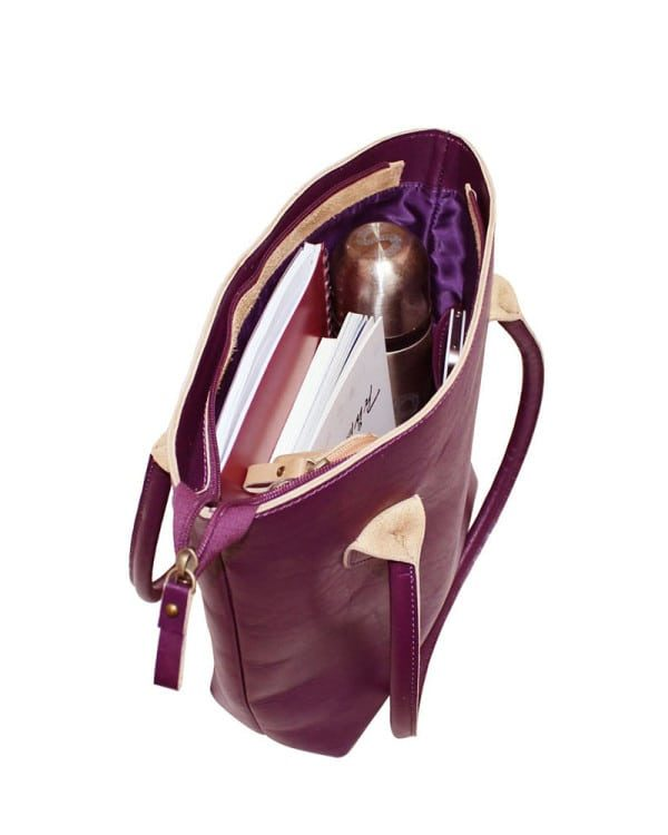 Mongolian MR Purple Leather Bag inside