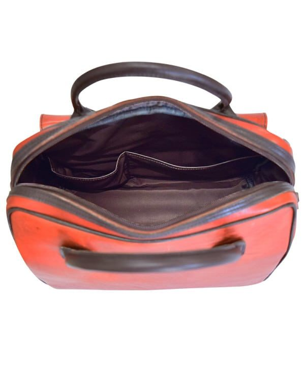 Mongolian MR travel Leather Bag inside