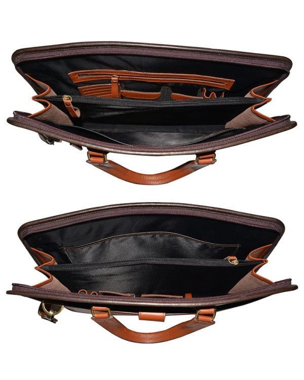 Mongolian MR Brown Leather Bag Inside