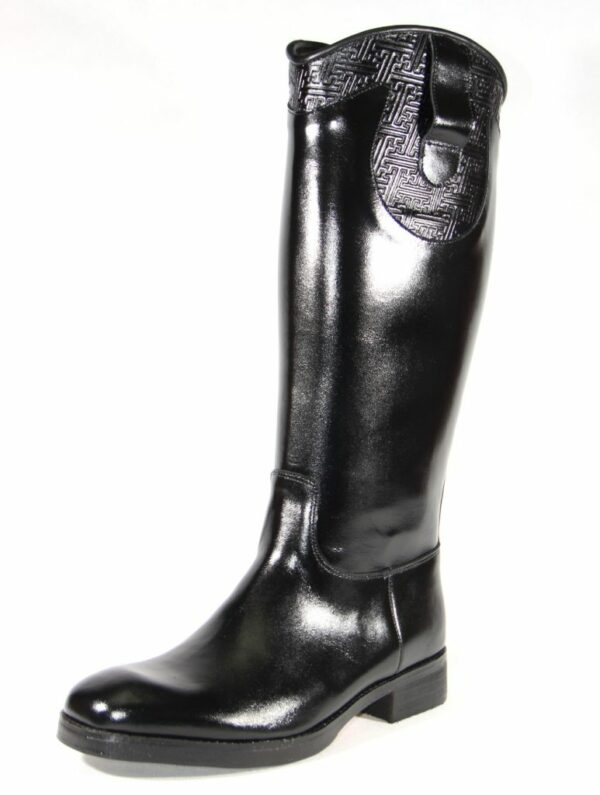 Black boots with stamp