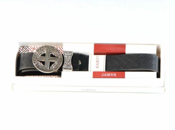Black nomadic belt packaged in box