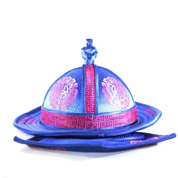 Back of the ethnic blue hat