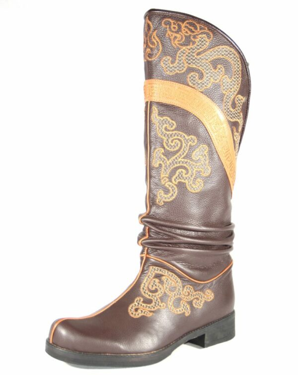 Mongolian Brown Leather Boots with Ornament