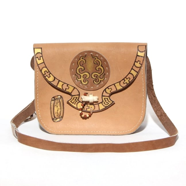 Mongolian Nomadic Leather Bag front