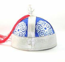 Mongolia Blue bucket hat with tassel