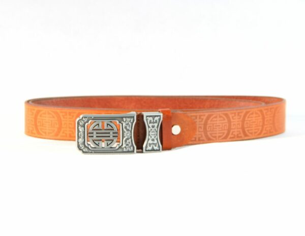 Leather belt with mongolian ornament pattern