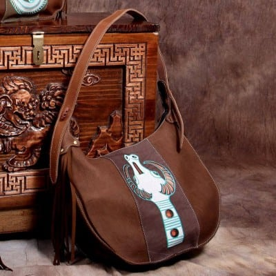 brown leather, mongolian