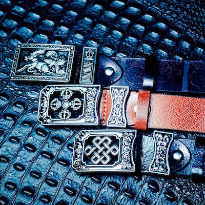 Genuine leather, Mongolian pattern, ornaments of happiness, traditional belt