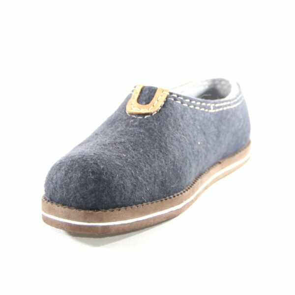Blue felted shoes with rubber sole