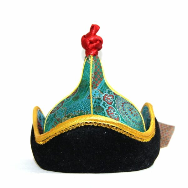 Green mongolian hat with yellow trim , red topping