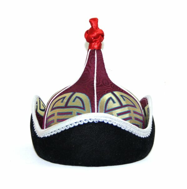 Mongolian hat with red topping, white trim