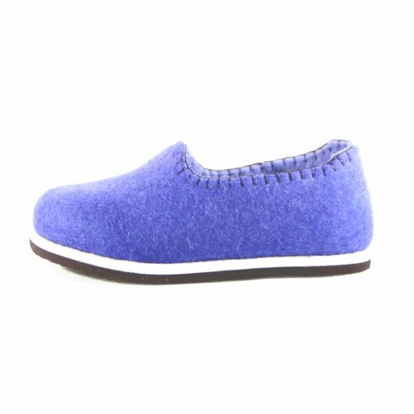 Purple felted shoes with rubber sole
