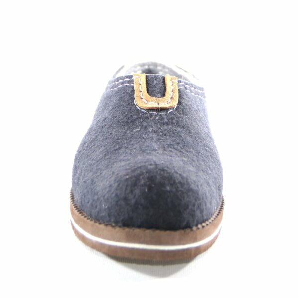 Mongolian Blue felted shoes with rubber sole