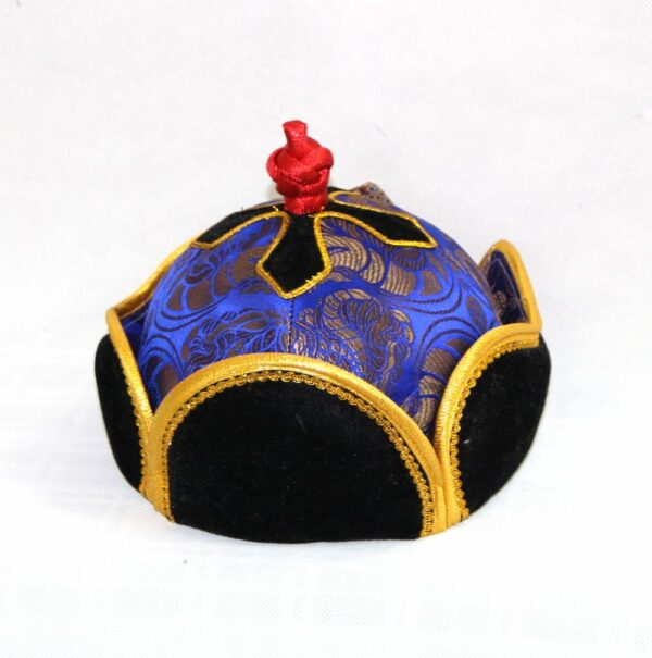 Mongolian hat with yellow trimming captured from top