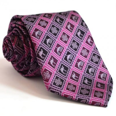 Purple tie with yurt, camel pattern