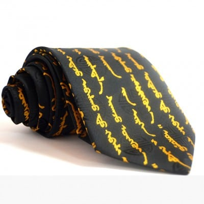 Mongolian script written on yellow tie