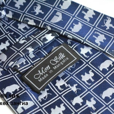 Mongolian puzzle necktie blue
