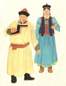 Mongolian Couple wearing deel