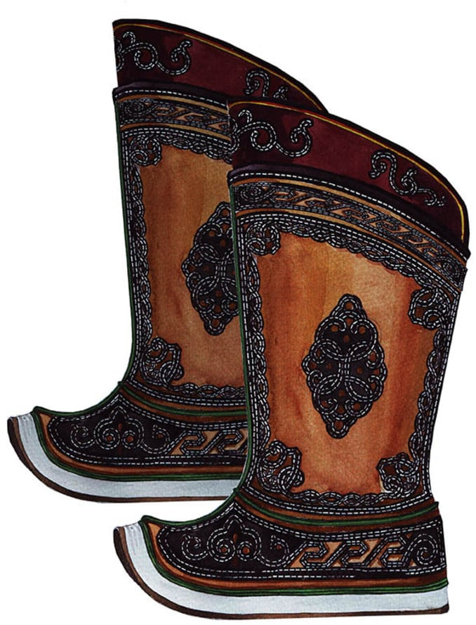 Mongolian boots from side