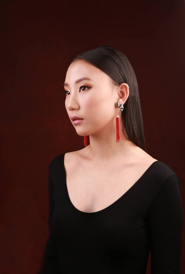 MONGOLIAN QUOTES STATEMENT EARRING WITH CORAL