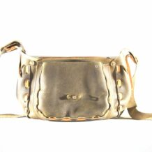 Mongolian Gold Leather Bag With An Art
