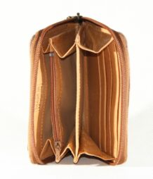 Mongolian Brown Wallet With An Art