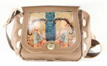 Mongolian Light Brown Bag With An Art