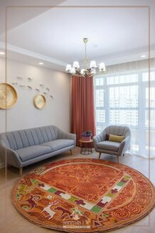 Quilted, stitched Hunnu felt rug
