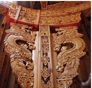 Carved Pillar of Mongolian Yurt