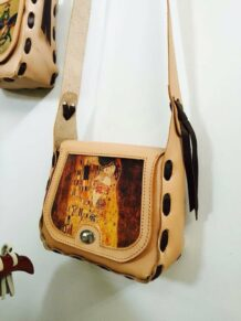 Mongolian Small Leather Bag With An Art