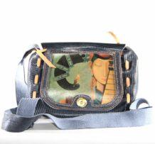 Монгольская малая кожаная сумка с изображением искусства