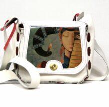 Монгольская маленькая белая сумка с изображением искусства