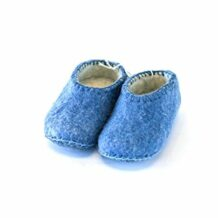 Blue Kid's Wool Slippers
