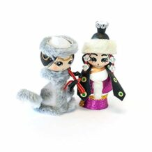 Wooden Felt Doll Couple