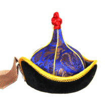 Pointed Mongolian men hat, Yellow trim, Cone shaped red top 2