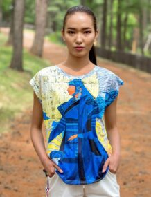 Mongolian Women T-Shirt with Art T-1