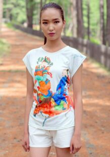 Mongolian Women T-Shirt with Art T-2