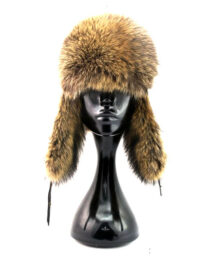 Raccoon Fur Hat with Ear Flaps