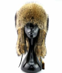 Mongolian Raccoon Hat with a Tail