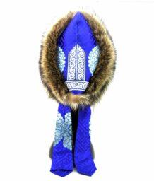 Mongolian A blue silk raccoon hat