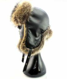 Mongolian Raccoon Fur Hat with Ear Flaps