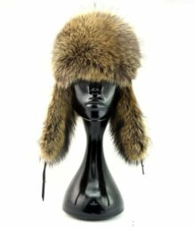 Mongolian Raccoon Fur Hat with Ear Flaps