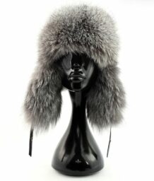 Mongolian Grey Fur Hat with Ear Flaps